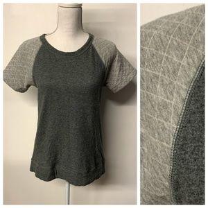 J Crew Gray Soft Quilted Sleeve T-Shirt Sweatshirt